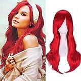 Pelucas mujer rojo cosplay anime disfraz largo ondulado con flequillo, YEESHEDO peluca larga y rizada pelo natural sintético completo para niñas 28 pulgadas / 70 cm (rojo)