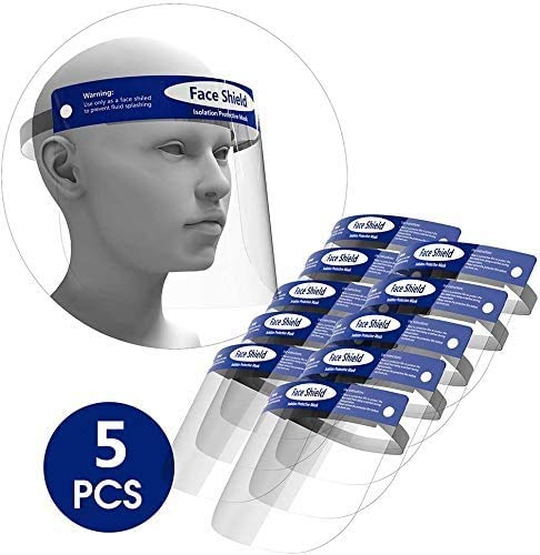 5 Piezas Visor de Plástico Protector Facial Protección, Pantalla Protectora Cara, Visera Protectora, Ocular Ajustable Transparente, Con Banda de Goma (5P)