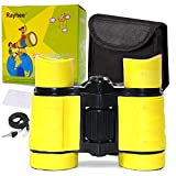 Rayhee Rubber 4x30mm Toy Binoculars for Kids - Bird Watching - Educational Learning - Hunting - Hiking - Birthday Presents - Gifts for Children - Outdoor Play (Yellow)