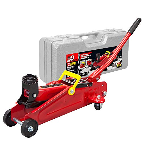 BIG RED T820014S Torin Hydraulic Trolley Service/Floor Jack with Blow Mold Carrying Storage Case, 2 Ton (4,000 lb) Capacity, Red