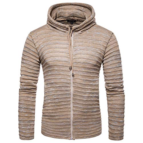 SLYZ Otoño E Invierno Nuevo Suéter para Hombre Ouma Casual Color Copo De Nieve con Capucha Cremallera De Punto Cardigan Camisa para Hombre