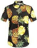 SSLR Camisa Manga Corta de Algodón Estampado de Piñas Tropical Estilo Hawaiano de Hombre (Small, Blanco)