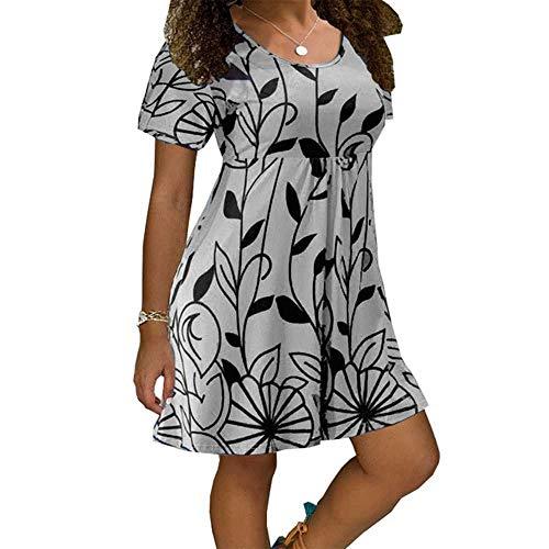 PYLOVER Summer Dress Women Casual Short Sleeve O-Neck Print A-line Dress Size Size Street Sundress Loose Dress