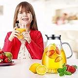 CNNIK Glas Krug, 2L Bleifrei Borosilikatglas Wasserkrug mit Deckel, Glaskaraffe für Heißes/Kaltes Wasser, Milch, Rotwein, Fruchtsaft, Kaffee und EIS Getränke - 5