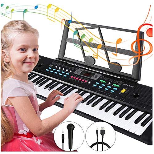 RBTT Elektronische Tastatur für Kinder 61 Tasten Digital Pianos Multifunktionale Lernspielzeug mit Mikrofon für Kinder Anfänger Jungen und Mädchen