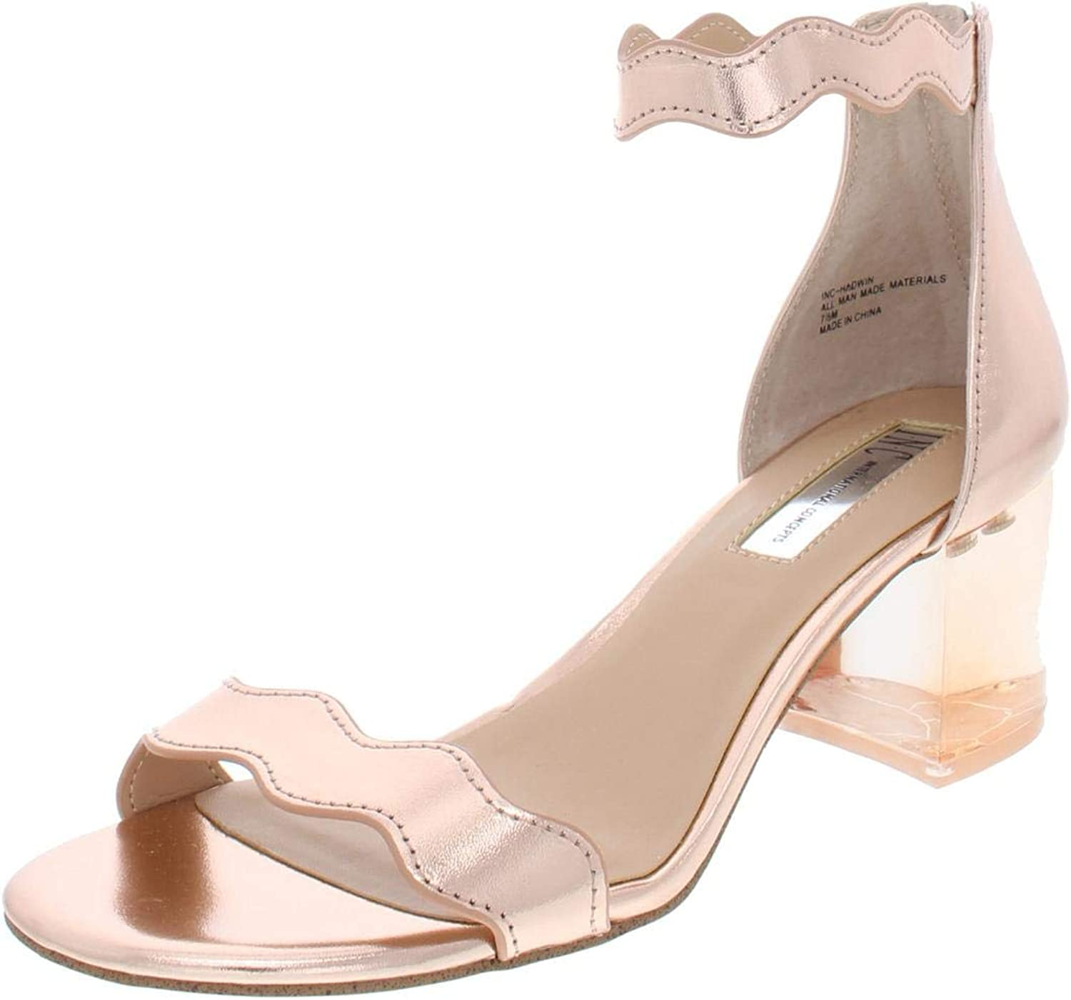 Inc Womens Hadwin Faux Leather Scalloped Heels Pink 7 Wide (C,D,W)