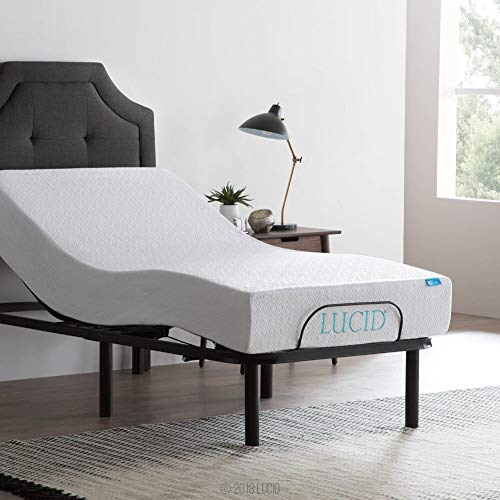 LUCID Steel Frame Adjustable Bed Base, Twin XL