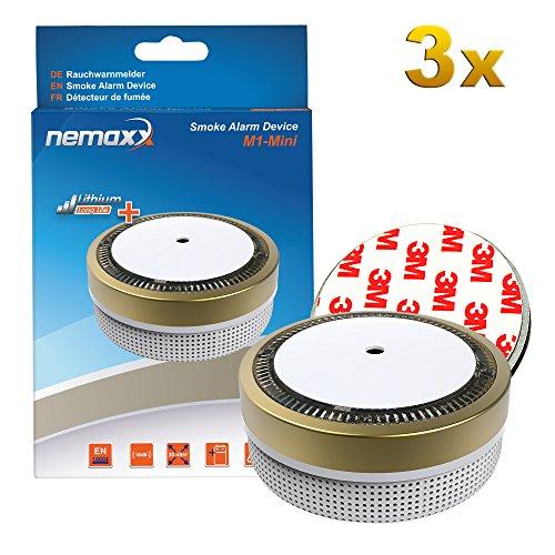 3x Nemaxx M1-Mini Rauchmelder goldfarben - fotoelektrischer Rauchwarnmelder nach neuestem VdS...