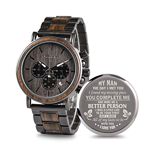 Personalized Wooden Watch Engraved Wood Engrave Groomsmen Gift My Man Wedding Anniversary for Men Personalized Watch