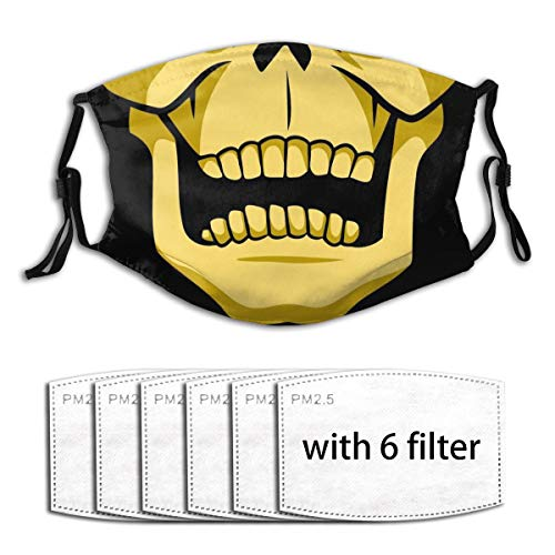 Skeletor Yellow Skull Face Cool Movie Tv Show Series 80S Cartoon Quarantine Coronavirus Covid19 Trendy Style 2020 Boys Girls Adults Adjustable Earloop Face Mouth Anti Pollution Washable With 6 Filters