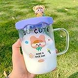 N\C Kawaii Cartoon Girl Bottiglia di Acqua di Vetro con Copertura in Silicone Semplice Bella Tazza di Caffè Tazza di Latte Colazione Tè Bere Bottiglie