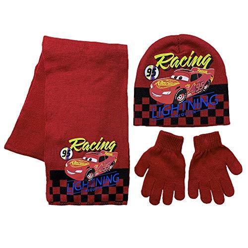 Juego de gorro, guantes y bufanda de invierno Disney Cars gorro niño 3404 rojo 54