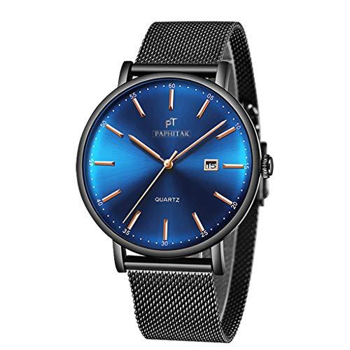 Quarzuhr Herren Armbanduhren,Evansamp Die kreative Art- und Weiserunde Vorwahlknopf-Uhr der neuen Männer Studentenuhr der Frauen stilvolle Armbanduhr(Blue)