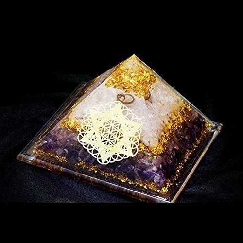 XIAOHNNL Constelación Personalización Orgonita Pirámide Cristal Decoración Siete Chakras Polvo Cristal Torre de Energía Oro Tarot Astrología