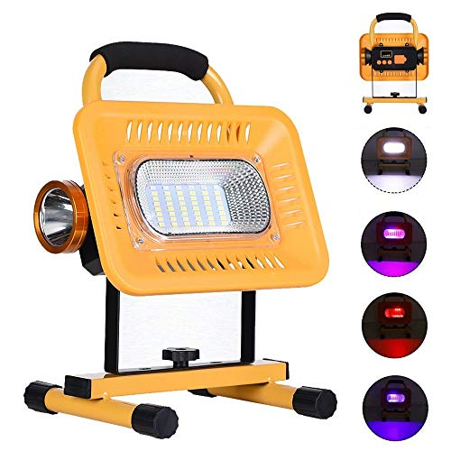 JSJJAUA Faroles de Mano Luz de inundación Recargable Reflector al Aire Libre COB LED Luz de Trabajo portátil Proyector Reflector Linterna Camping Lámpara de construcción (Emitting Color : Model A)