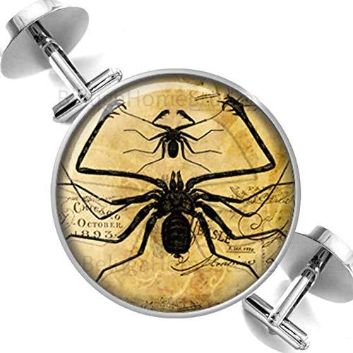 Death Devil Abotoaduras feitas à mão, abotoaduras, insetos de aranha, estampas alteradas, sépia e padrinhos pretos, festa de casamento, pais, pais, homens, presente de amor