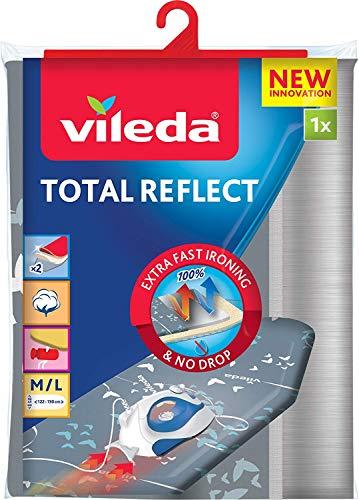 Vileda Total Reflect - Funda de planchar, metálica: refleja el vapor sobre la ropa; para un planchado extra rápido, ajustable, medidas: 120-130 x 38-45 cm, color gris
