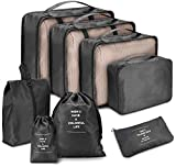 CHARMDI Packing Cubes, 8 Pcs Travel Organizer Set for Suitcase Luggage Compression Pouches