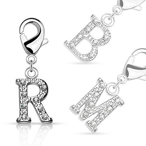 Bungsa® M - Silberner Buchstaben Kristall Charm Anhänger für Bettelarmband Ohrring Halskette Zirkonia Damen Herren Kinder (Kettenanhänger Pendant Beads A B C D E F G H I J K L M N O P R S T U V W Z)