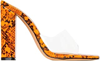 OLCHEE Women's Sexy Clear High Heel Mules Sandals - Transparent Strap Open Toe Snake Print Slip on Chunky Heels