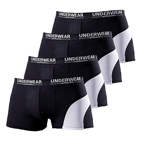 Le Jogger Hipster, 4er Pack Baumwoll-Hipster, Boxershorts, Short Boxer, Neu (7, Schwarz)