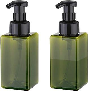UUJOLY Foaming Soap Dispenser, 450ml (15oz) Refillable Pump Bottle for Liquid Soap, Shampoo, Body Wash (2 Pcs) (Green)