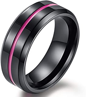 Mens 8mm Stainless Steel Channel Set Pink Epoxy Wedding Engagement Black Grooved Band Beveled Edges Ring