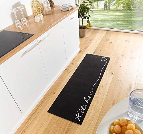 Waschbarer Küchenläufer Kitchen Schwarz 50x150 cm