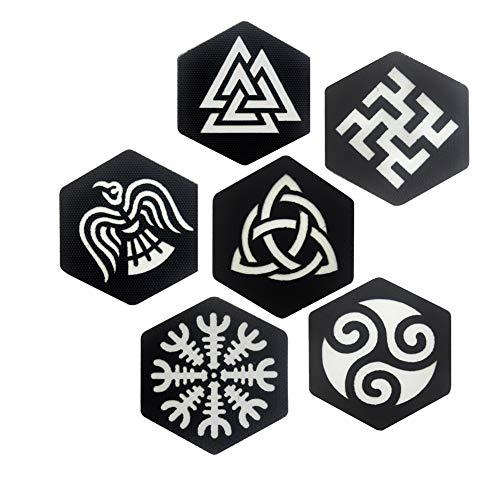Parches brillantes de Vegvisir Vikings con símbolo de triángulo Valknut, insignia de runa nórdica, timón de cuervo de Awe Banner Emblema celta nudo triskelion Vikings Thor apliques