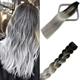 Tape In Human Hair Double Sided Tape Skin Weft Balayage Ombre Hair Natural Black Fading to Silver Ash Blonde Hair Extensions Remy Hair #1btGray 50g 16Inch 20PCS Thick