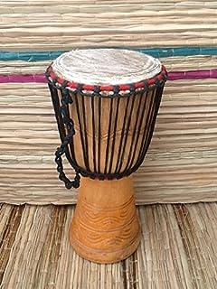 Tambor africano auténtico Djembe – cabeza de 23 cm (23 cm de altura, 52 cm de altura) con sombrero de tambor.