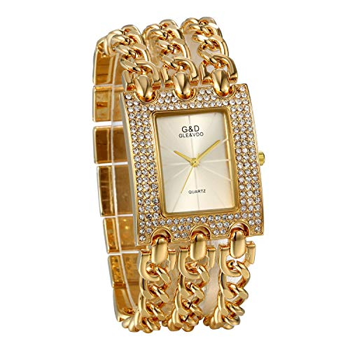 JewelryWe Reloj de pulsera de mujer de cuarzo, correa cuadrada con pedrería, pulsera de mujer, cadena de aleación, regalo de color plateado y dorado dorado