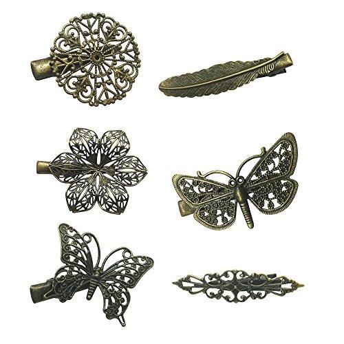 6ST Verschiedene Vintage Haarspange Haarnadel Schmetterling Libelle Blume Feder