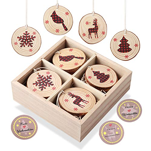 KOHMUI Wooden Christmas Pendant Christmas Decoration Deer Figurine