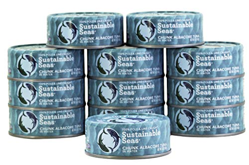 Sustainable Seas, Chunk Albacore Tuna in Water, 5 Ounce, 3rd party mercury tested, 100% sustainably caught (Pack of 12)