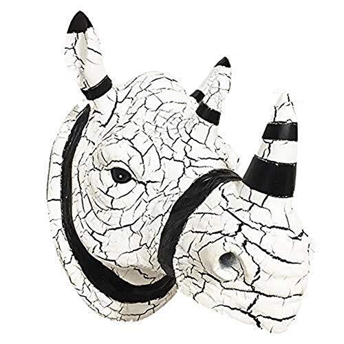 MAMINGBO Escultura de Pared de Cabeza de Rinoceronte, decoración de Pared de Cabeza de Animal, Colgante de Pared de Resina Cabeza de Rinoceronte decoración del hogar Regalo Artesanal