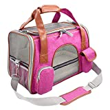 Suerico Soft Sided Pet Carrier Bag Airline Approved Tote for Small Animals/Dog/Cat/Kitten/Puppy (Rose Red)