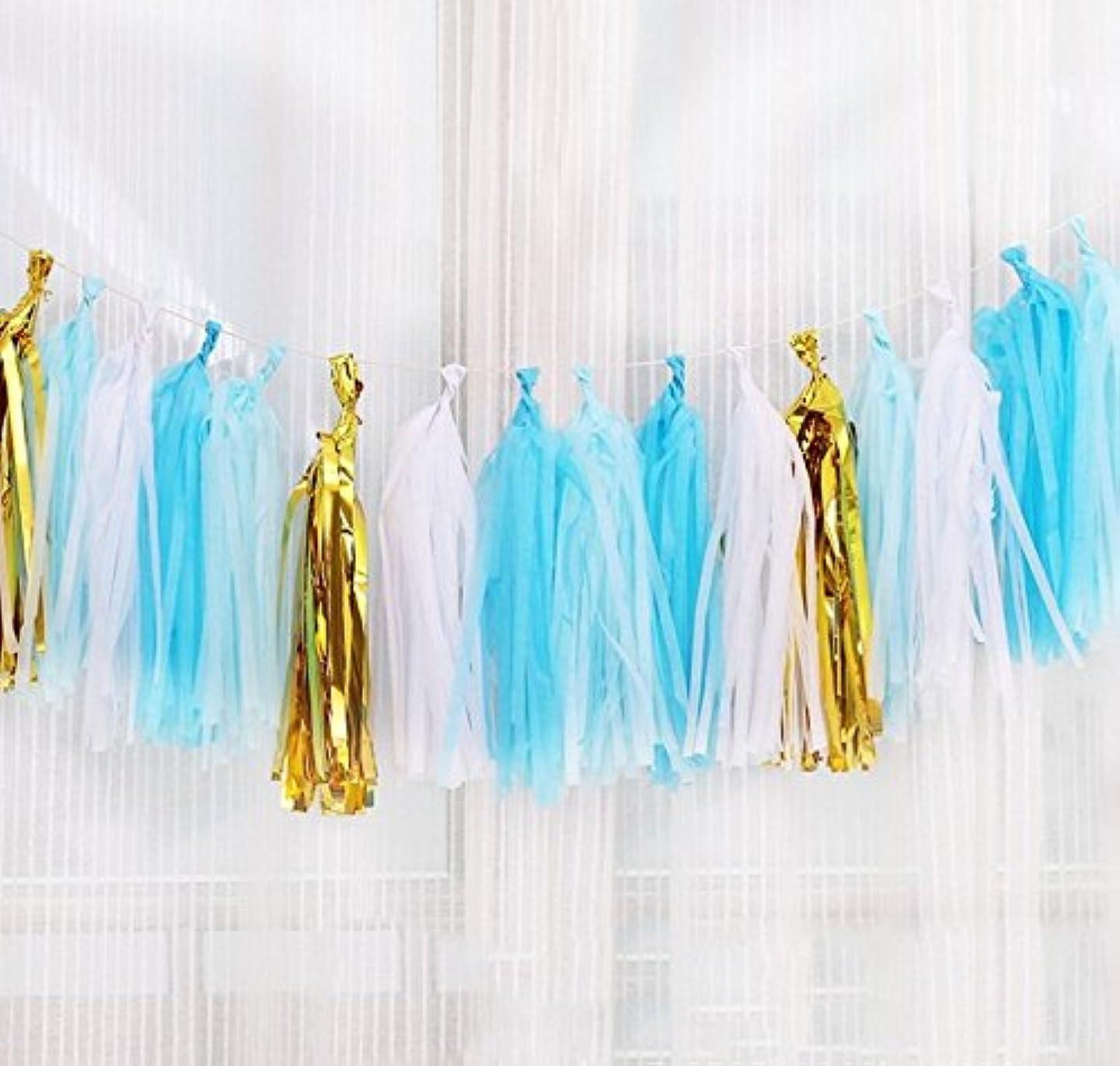 Premium Tissue Paper Tassels, Party Tassels DIY Garland Banner for Wedding, Baby Shower, Birthdays, Photo Props, Event and Party Supplies DIY Kits (Blue+ White)