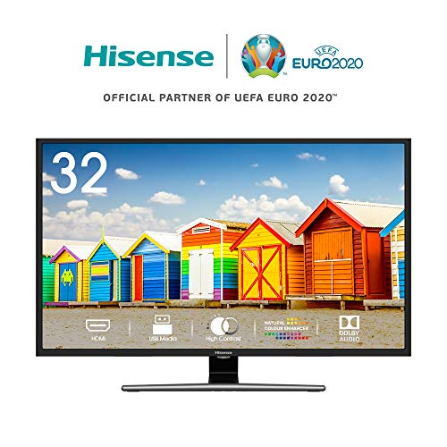 Hisense H32AE5720 TV Smart TV LED HD 1366 x 768 pixel, 32', Single Stand, USB Media Player, Tuner DVB-T2/S2 HEVC Main10 [Esclusiva Amazon - 2019]