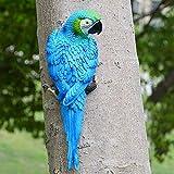 Figura decorativa de loro artificial de imitación para decoración de jardín, figura realista de medio lado, juguete modelo adorno de resina, Blue-1#, Tamaño libre