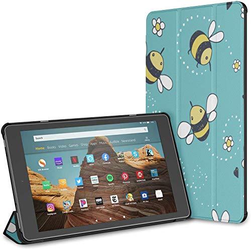 Custodia per Cartoon Doodle Cute Bees Fire Hd 10 Tablet (9a   7a generazione, versione 2019 2017) Cover Tablet Fire Hd 10 Custodia per un tablet 10 pollici Auto Wake sleep per 10