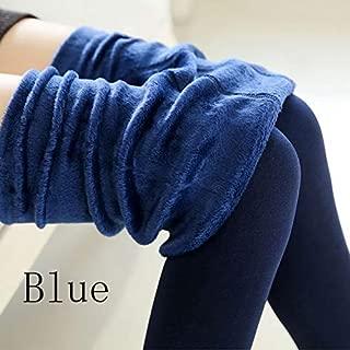 Warm Women's Plus Velvet Winter Leggings Ankle-Length Keep Warm Solid Pants High Waist Large Size Women Leggings (Color : Blue 88, Size : L)