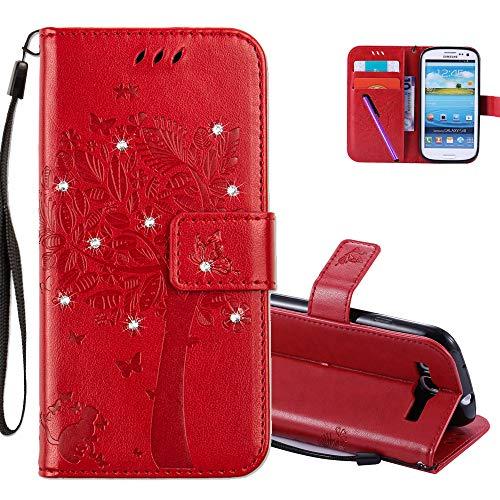 COTDINFOR Galaxy S3 Mini Case Premium PU Custodia in Pelle Cash Pocket Flip Custodia a Portafoglio Chiusa con Slot per Carta di Credito per Samsung Galaxy S3 Mini Red Wishing Tree with Diamond KT.
