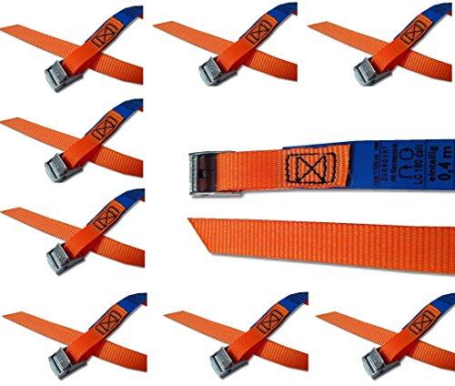 iapyx Befestigungsriemen-Set ideal zur Befestigung am Fahrradträger, Klemschloss Gurte, Spanngurte (10er Set, orange)