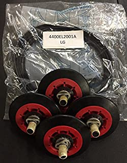 Edgewater Parts 4 Pack Roller Wheels 4581EL2002A And Belt 4400EL2001A Kit Compatible With LG Dryers (10 year Warranty)