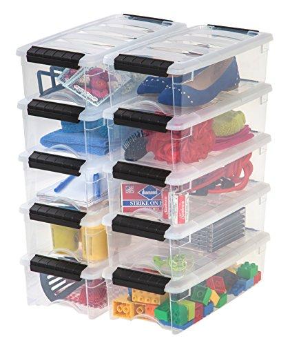 IRIS USA TB-35 Stack & Pull Storage Box, 5 Qt, Clear, 10 Count