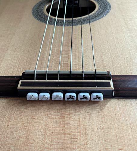 Alba Guitar Beads String Tie Guitar Retenedores de cuerda de nailon para guitarra acústica eléctrica clasica flamenco ukulele blancos