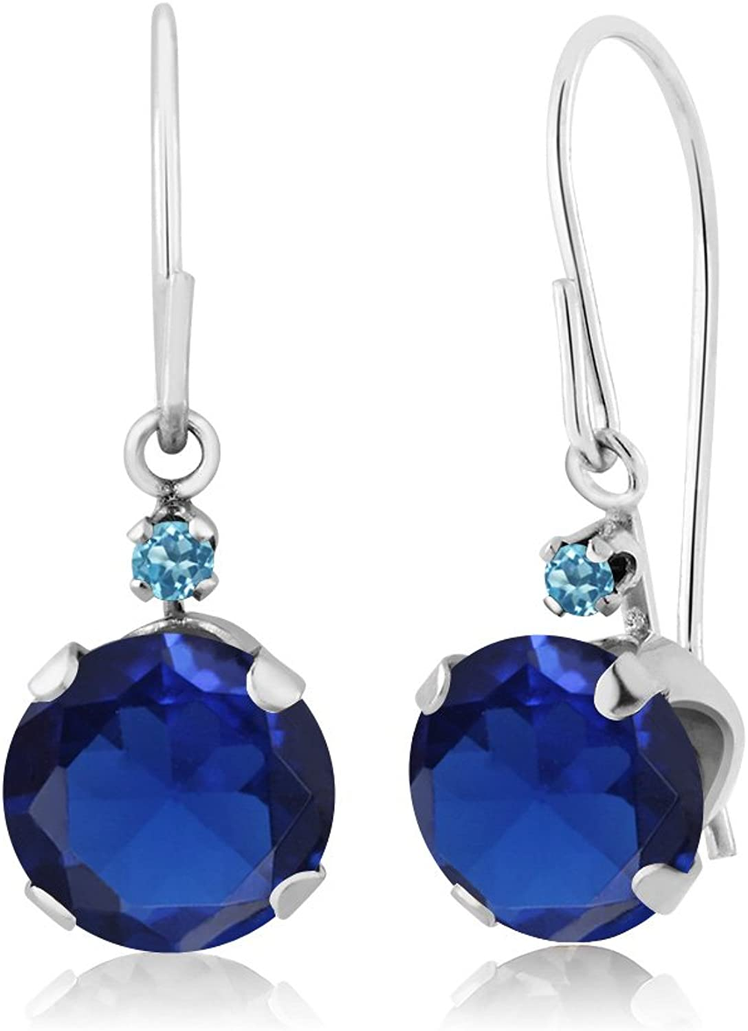 2.04 Ct Simulated Sapphire Swiss bluee Simulated Topaz 14K White gold Earrings
