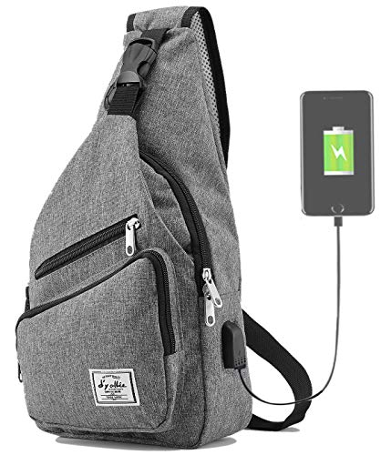 Sling Bag for Men Crossbody Shoulder Chest Bags Nylon for Travel Gym Sport Hiking with USB Charger...