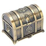 Agatige Caja del Tesoro de Metal, baúles Decorativos pequeños Antiguos Vintage Caja de Almacenamiento de joyería clásica para la colección de Collares Pendientes(M)